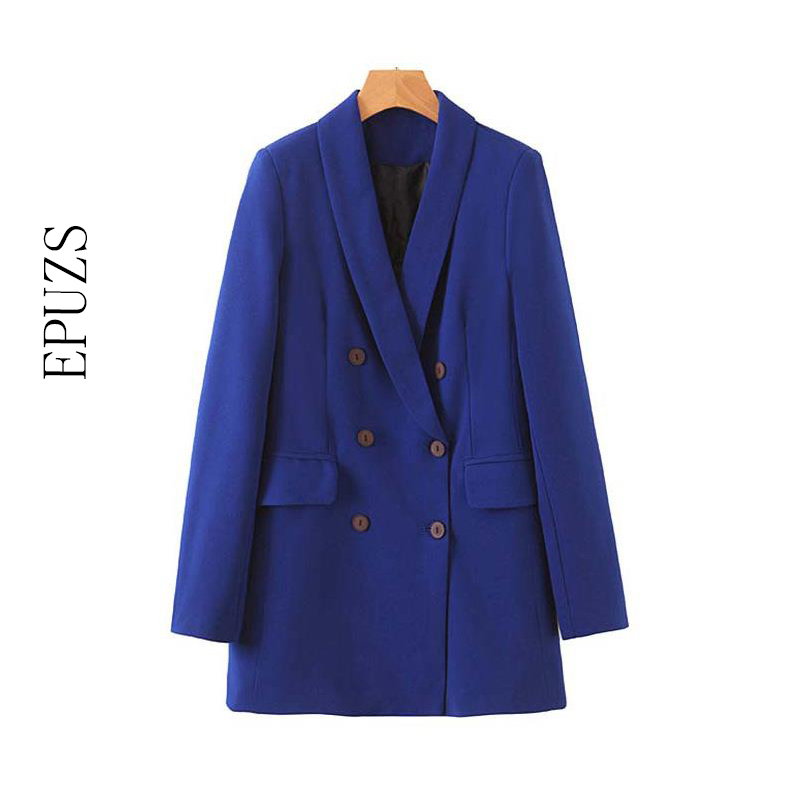 Autumn Blue Women Blazers And Jackets Casual Office Ladies Blazer Coat Korean Double Breasted Elegant Long Sleeve Blazer Suit