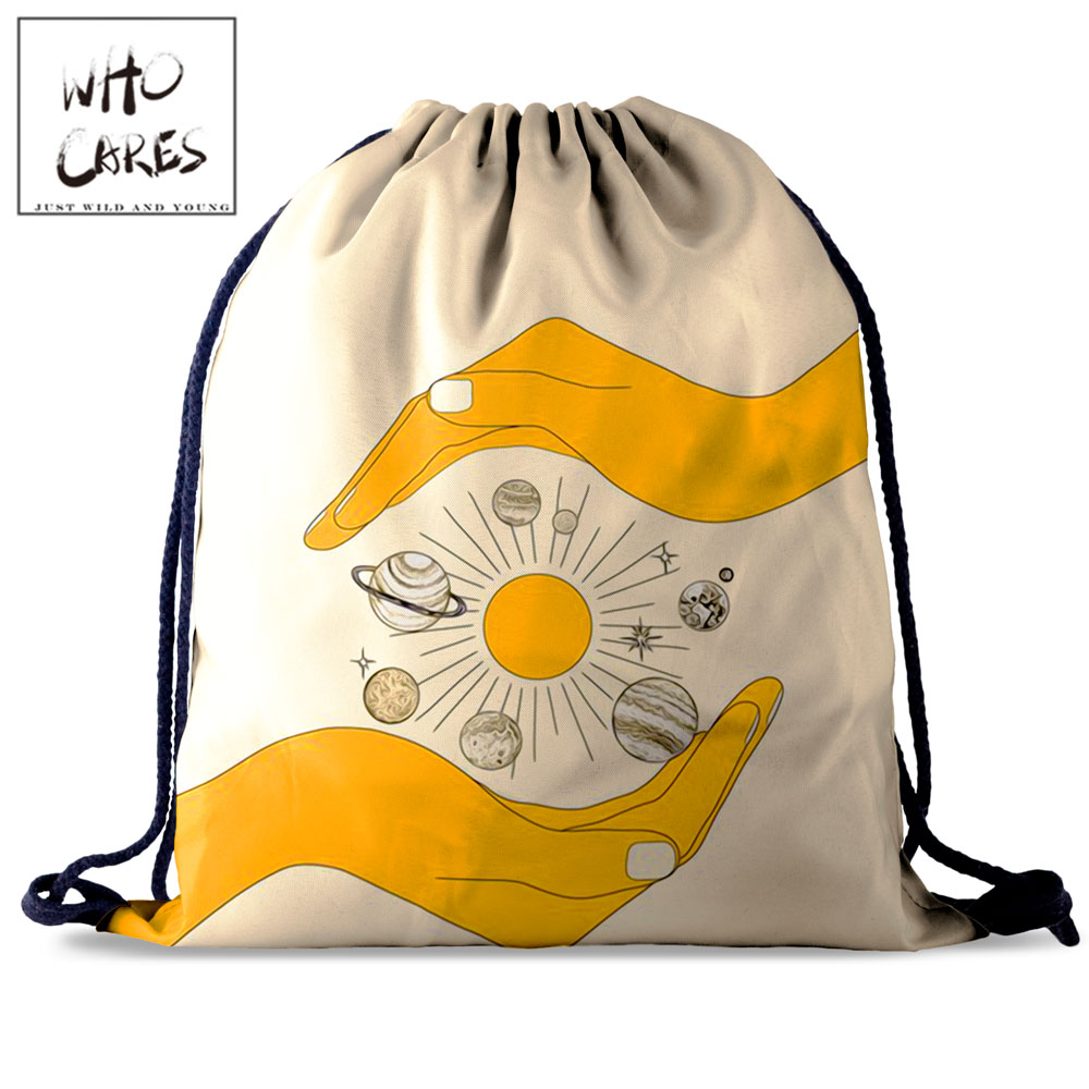 Who Cares Simple Off White Drawstring Bag Planet 3D Printing Pouch Bag Gym Backpack Women Outdoor Travel Bag School Shoe Bag