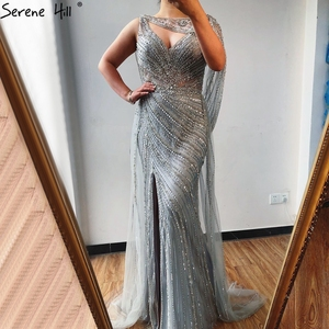 Image 4 - Serene Hill Sexy Champagne V neck Luxury Evening Dress 2020 Diamond Beading Sleeveless Mermaid Formal Party Gown CLA70301