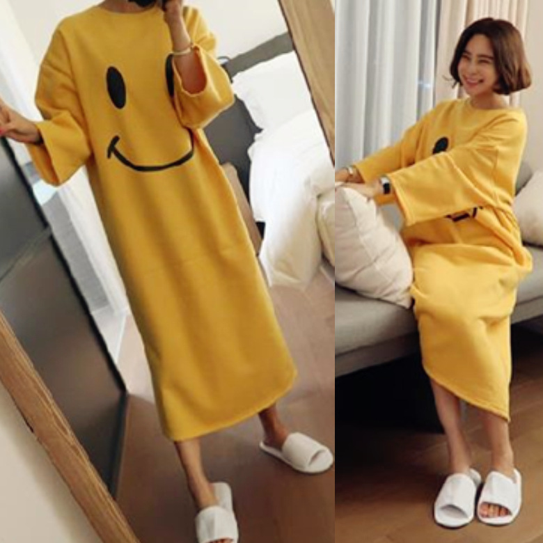 Long Sleeve Nightgown Women's Autumn And Winter Yellow Smiley M -Xxl Qmilch Double-Sided Thick Powder Strawberry Version Long Sl