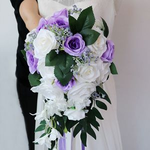 Image 5 - Romantic Wedding Bridal Waterfall Bouquet Artificial Rose Flowers with Ribbon