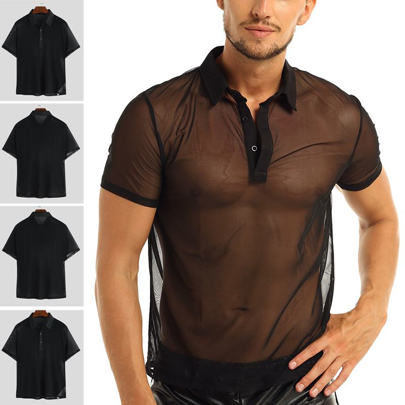 Man Undershirt Men Sexy Mesh Sheer Basic Blouse Male Breathable Transparent Short Sleeve Slimming Undershirts Inner Tops S-5XL