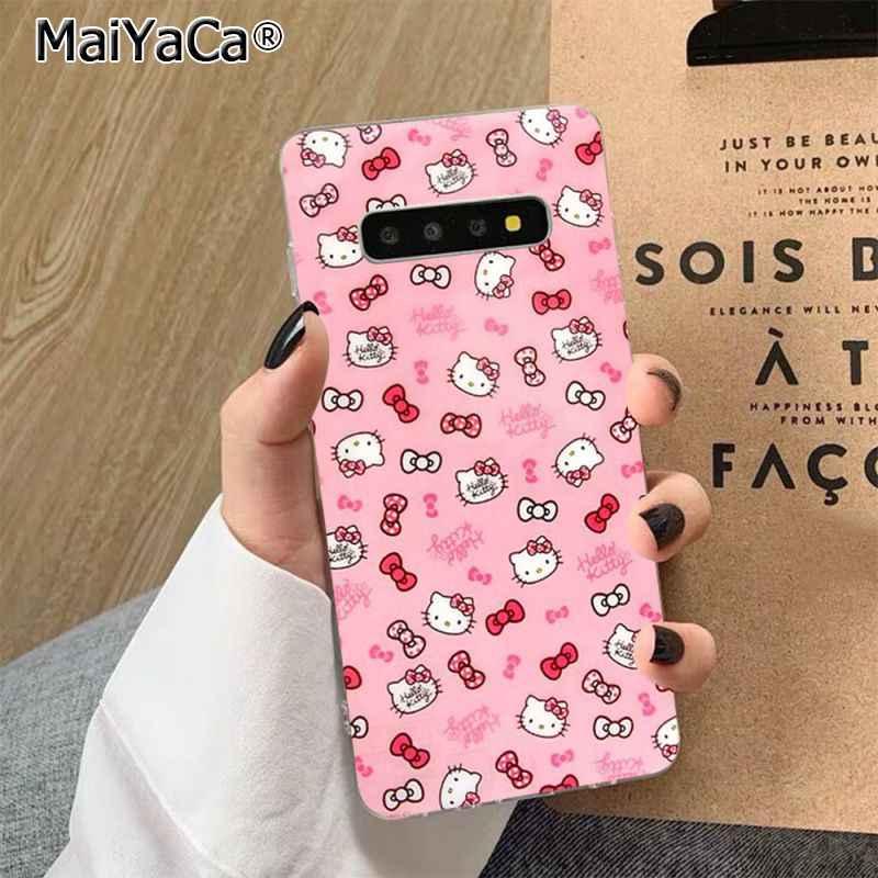MaiYaCa sıcak moda Hello Kitty siyah High-end telefon kapak için Samsung S7 kenar S8 S9 S10 S20 artı s10 LITE S10 5G
