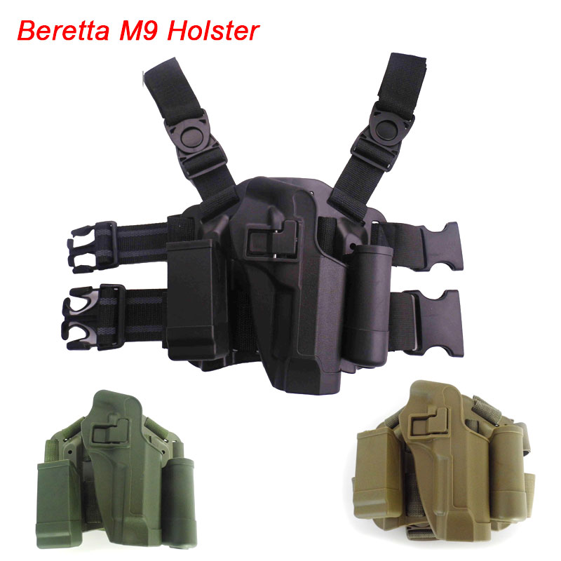 Tactical Beretta 92 Gun Leg Holster Hunting Airsoft Right Thigh Leg Holster for Beretta M9 92 Pistol Holster With Magazine Pouch