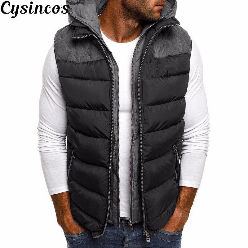 CYSINCOS Mens Winter Cotton Vests Fashion Hooded Coat Men Clothes 2019 Men's Outwear Winter Coat Parkas Men Jackets Warm Vest