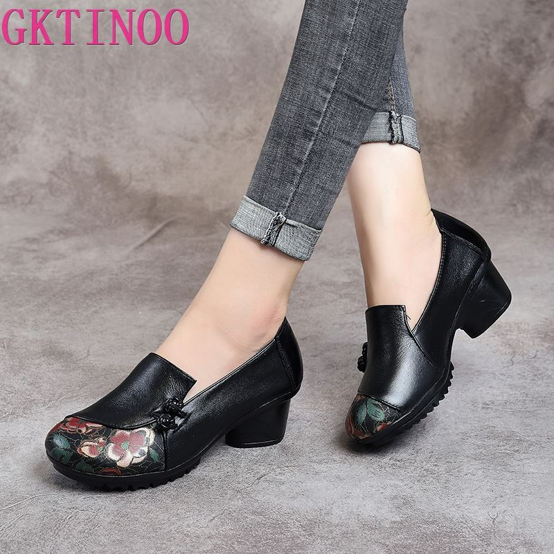 GKTINOO Spring Autumn National Style Women Pumps Printing Flowers Round Toe Genuine Leather Women Thick Heel Shoes Big Size 41