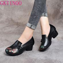 Gktinoo 봄 가을 국립 스타일 여성 펌프 인쇄 꽃 라운드 발가락 정품 가죽 여성 두꺼운 뒤꿈치 신발 큰 크기 41