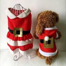 Костюм для животного, милый праздничный костюм, Рождественская одежда Санта-Клауса для девочек, теплое красное платье для маленьких и средних собак