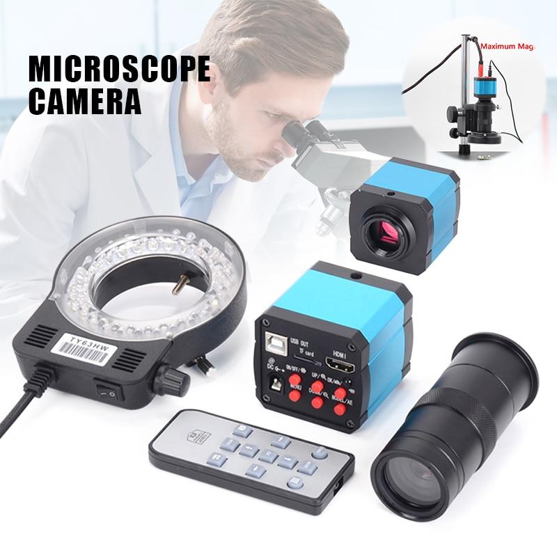 41MP HDMI USB Industrial Electronic Digital Video Microscope Camera 100X Lens Kit LED Light For Phone DIY Repair ALI88