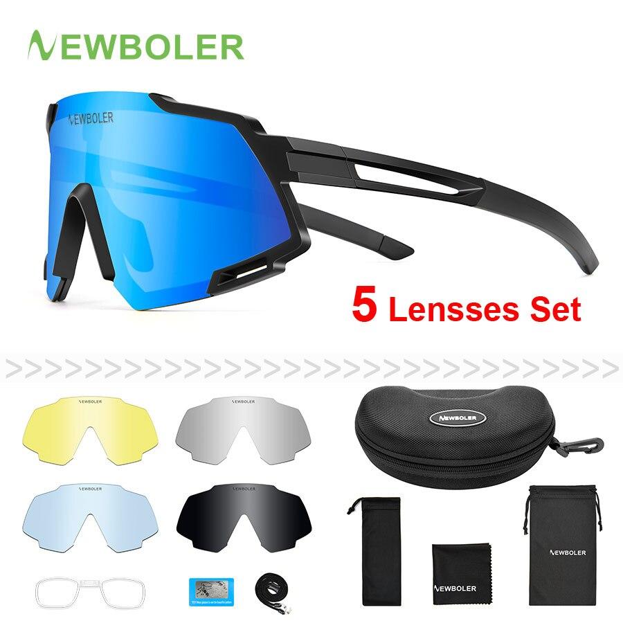 NEWBOLER 2020 Polarized 5 Lens Cycling Sunglasses UV400 Mountain Road Bike Eyewear Outdoor Sport Cycling Glasses Bicycle Goggles|Cycling Eyewear| |  - title=