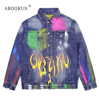 ABOORUN Distressed Painted Denim Jackets Men's Hip Hop Printed Denim Jacket Casual Single Breasted Jeans Coat Mael Outerwear image