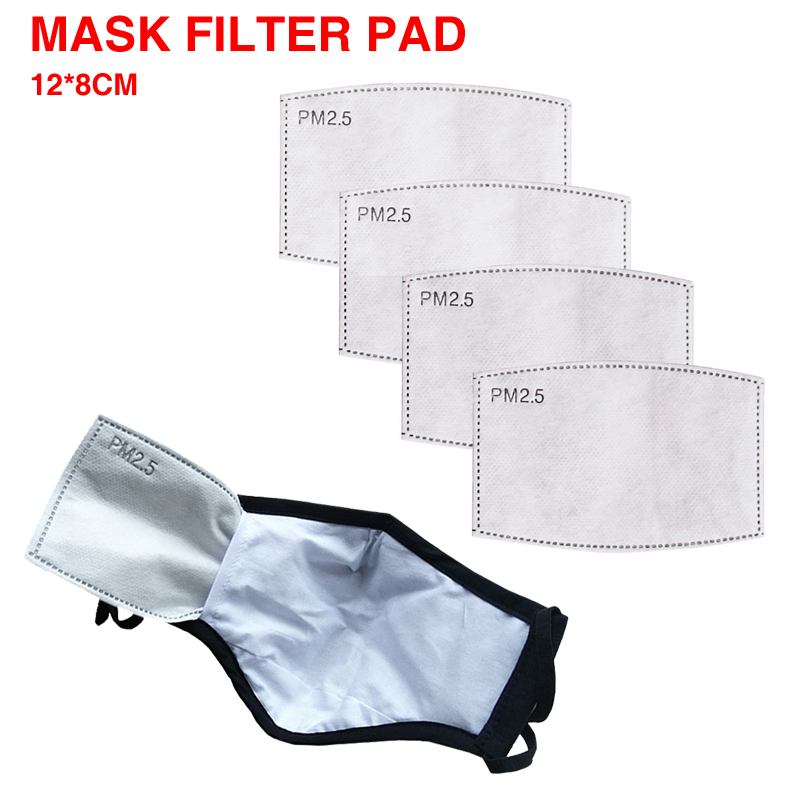 5Layers PM2.5 Disposable Filter Paper Pad Anti Dust Haze Mouth Sports Reusable Mask Virus For Kids Adult Respirator Breath Vavle