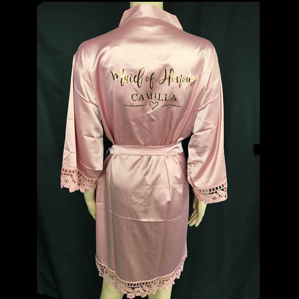 Nama Kustom Renda Satin Kimono Jubah Pribadi Pernikahan Pesta Pengantin Suster Ibu dari Pengantin Jubah Bridesmaid Hadiah dengan Sandal
