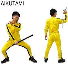 Macacão bruce lee para adultos, uniforme de kushu amarelo para crianças, conjunto de wu shu fantasia chinesa para homens marciais conjunto de artes