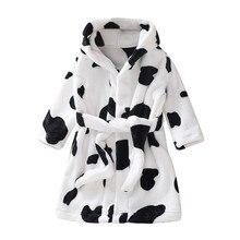 Халат с длинными рукавами для мальчиков и девочек; банные халаты; домашняя одежда; двухсторонняя Фланелевая пижама; осенне-зимние модели; утепленное пальто