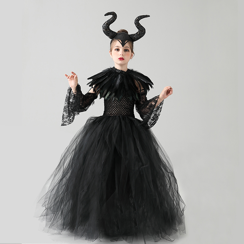Kids Black Devil Tutu Costume Gothic Halloween Girls Fancy Tutu Dress with Feather Shawl Royal Dark Queen Maleficent Gown Dress (4)