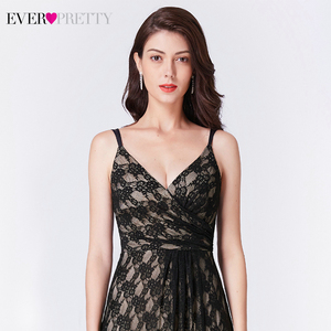 Image 5 - Ever Pretty Black Lace Long Evening Dresses A Line V Neck Sleeveless Spaghetti Straps Black Evening Gowns Vestido Formal Mujer