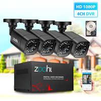 Zoohi AHD sistema de cámara CCTV al aire libre 1080P cámara de seguridad DVR Kit CCTV impermeable sistema de Video vigilancia en casa HDD P2P HDMI