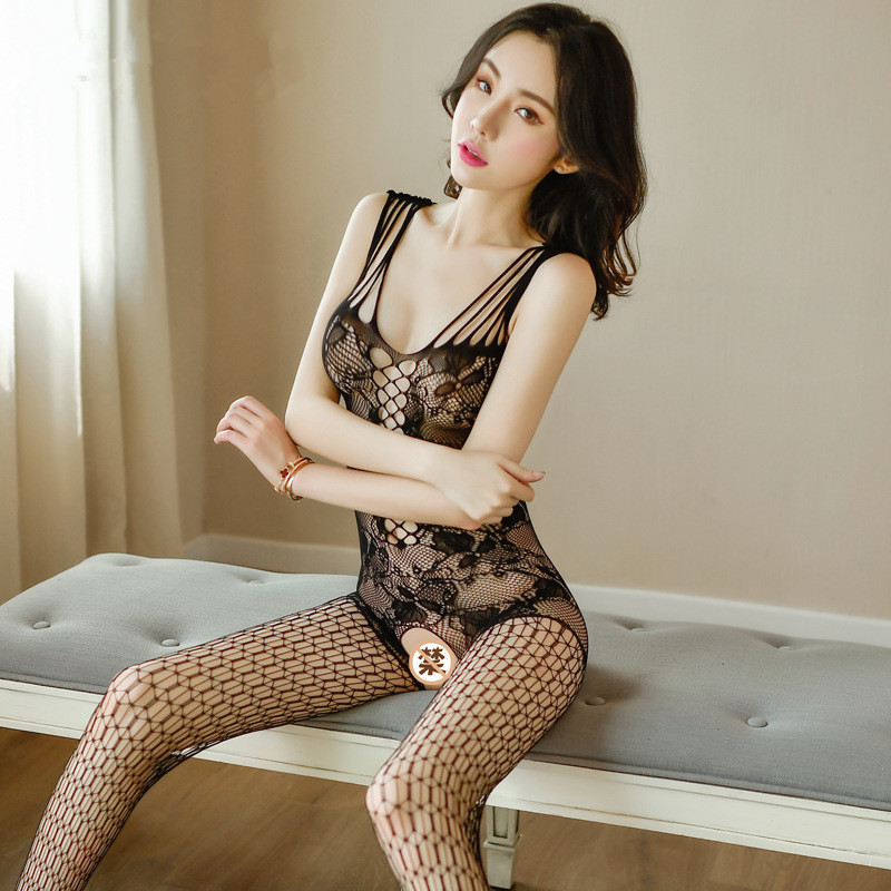 Hot Sexy Costumes Fetish Lingerie Porno Women Sexy Lingerie Open Crotch BodyStockings Mesh Fishnet Sex Clothes Teddies Underwear