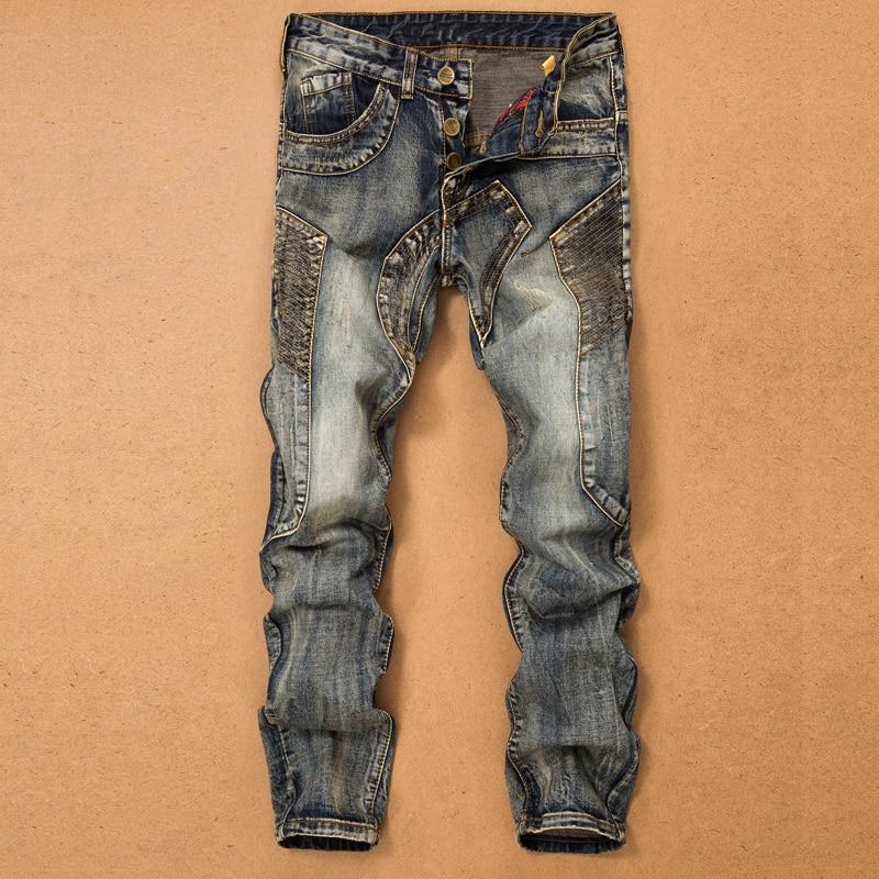 Джинсы мужские прямые с несколькими карманами, брюки из денима со сращением, дизайнерские штаны в байкерском стиле, Повседневные Удобные|Джинсы|   | АлиЭкспресс