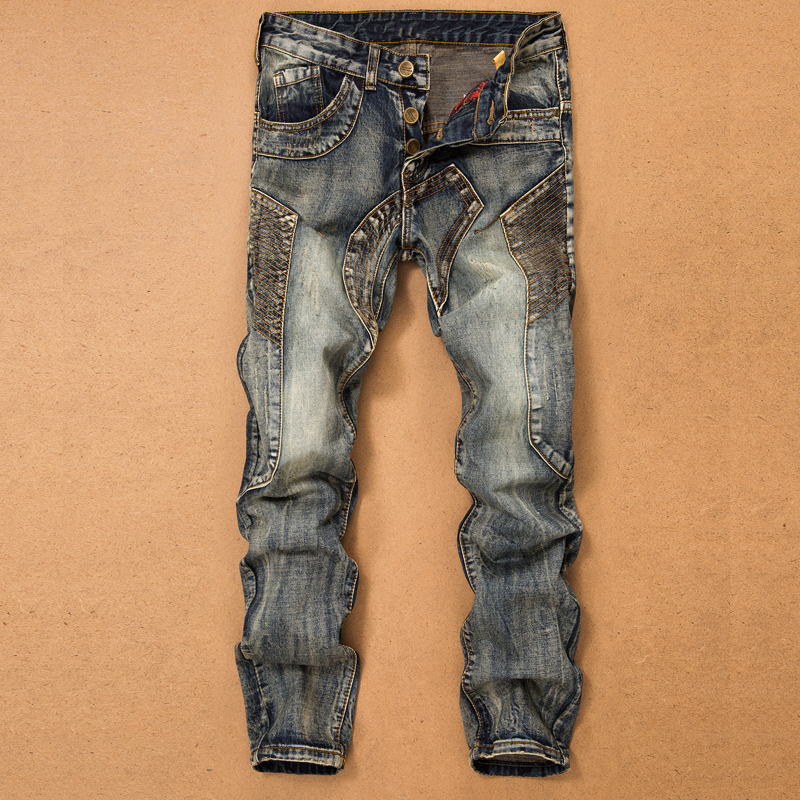 Джинсы мужские прямые с несколькими карманами, брюки из денима со сращением, дизайнерские штаны в байкерском стиле, Повседневные Удобные