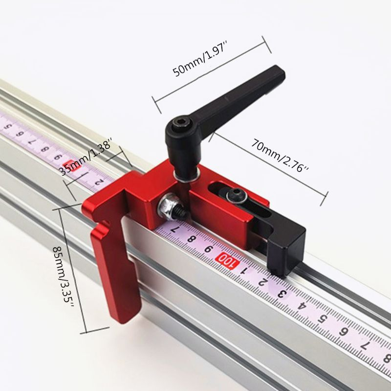 75mm Height T-tracks Stop Miter Gauge Table Saw T-Slot Stopper Woodworking Tool M89B