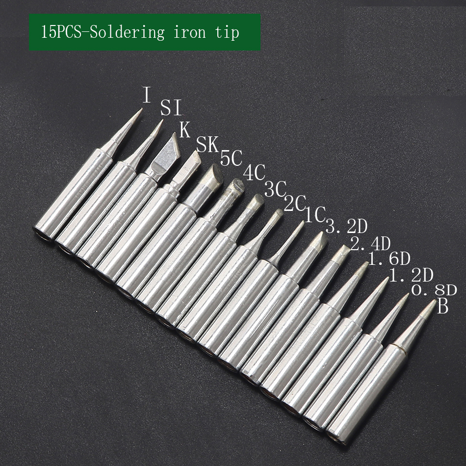 5Pcs Set Solder Soldering Iron Tip 900M-T-IS Lead Free For Hakko Saike 936 852d+