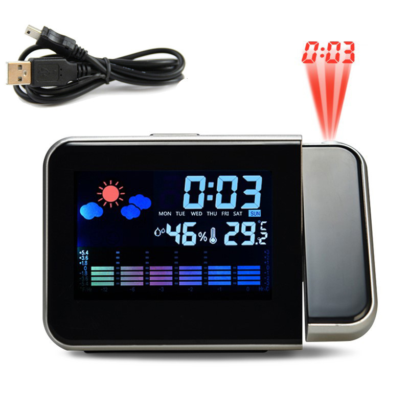 1 Pc Projection Alarm Clock With Weather Station Thermometer Date Display Digital Clock USB Charger Snooze LED Projection