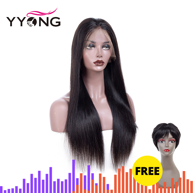 Yyong Hair Full Lace Human Wigs With Baby 120% Density Glueless Pre Plucked Peruvian Remy Straight Wig