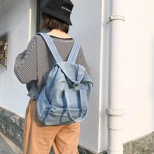 Image 2 - Casual Female Backpack Denim School Backpack High Quality College Teen Girl School bags Women Student Backpack