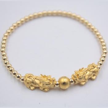 999 24K Yellow Gold Bracelet Real Gold Chain Lucky Pixiu and silver 3mm Beads For Women Girl Best Gift