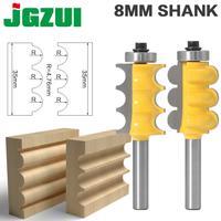 2PC 8mm Schaft Triple Perle & Triple Flöte Große Molding Router Bits Set Linie messer Holz cutter-in Fräser aus Werkzeug bei