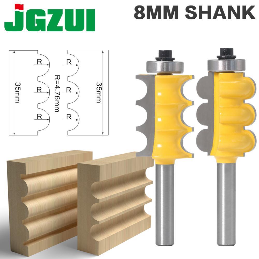 2PC 8mm Shank potrójny koralik i potrójny flet duży zestaw wierteł frezarskich linii nóż frez do drewna