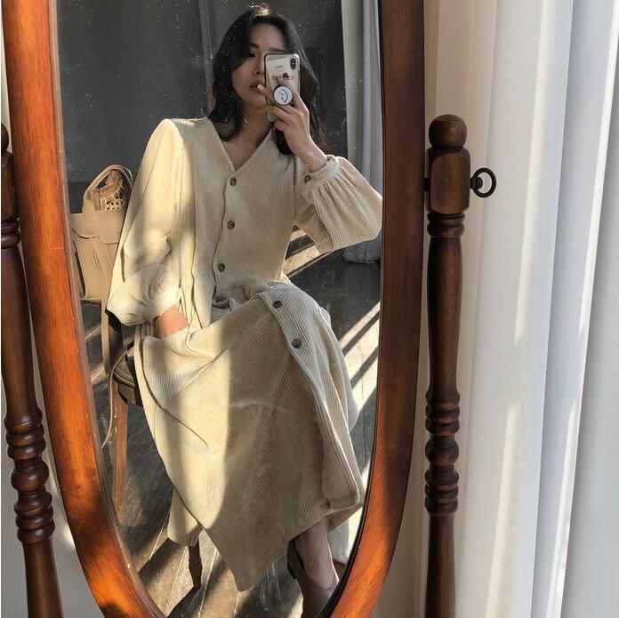 Женское осенне-зимнее винтажное длинное платье, Элегантное однобортное Платье-туника с длинным рукавом, повседневное вельветовое платье с карманами, Vestidos