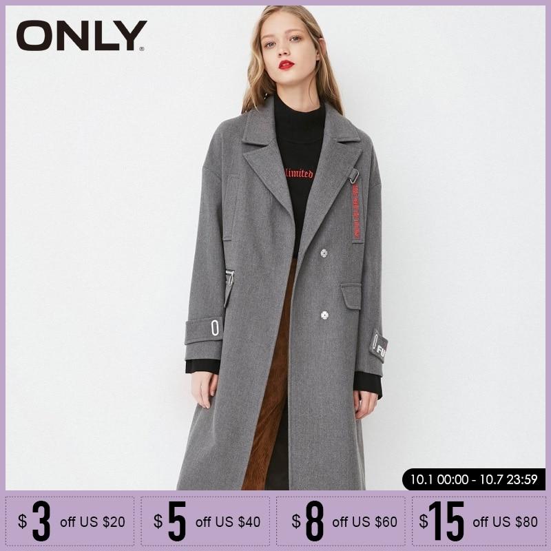 فقط الخريف معطف المرأة فضفاض مستقيم صالح المطرزة طويل السيدات معاطف  118136525-في معطف مبطن من ملابس نسائية على  مجموعة 1