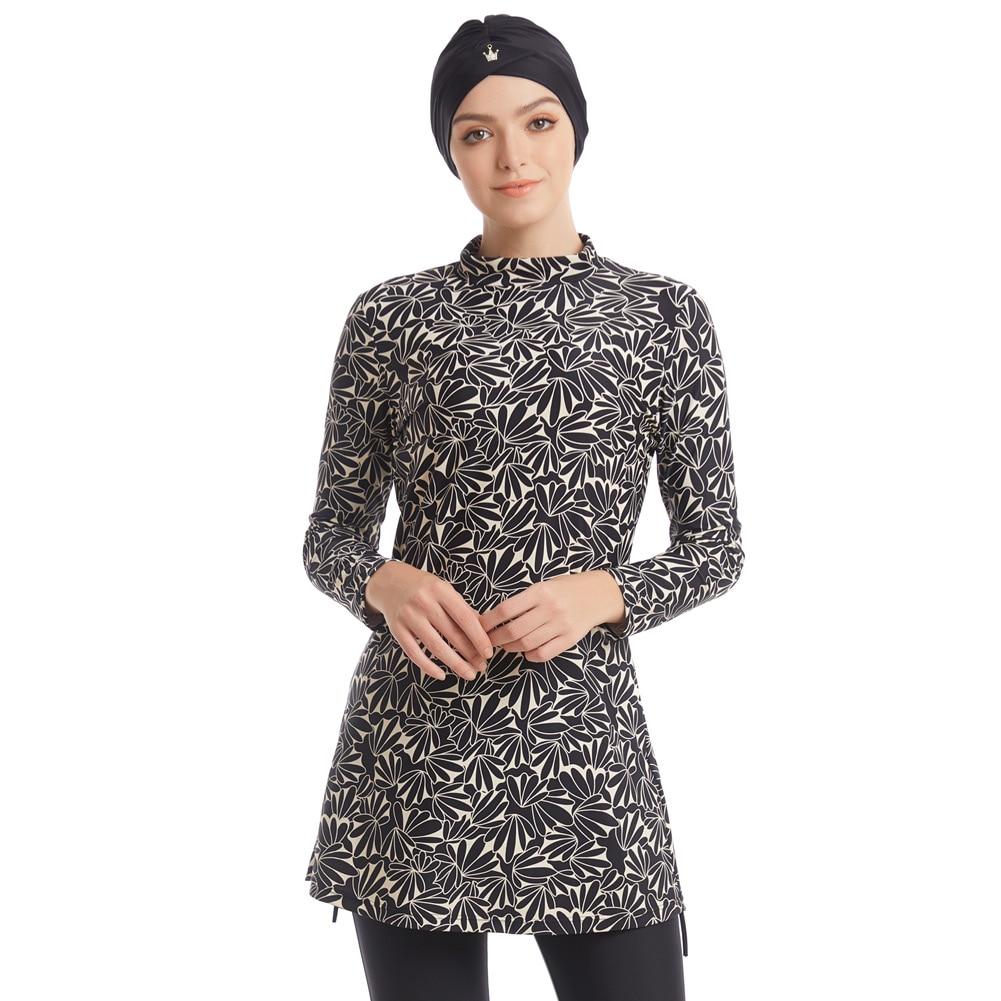Muslim Swimwear Women Modest Patchwork Hijab Long Sleeves Sport Swimsuit Islamic muslimah Burkinis Wear Bathing Suit