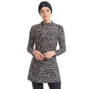 Image 1 - Мусульманский купальник, Женский скромный лоскутный хиджаб с длинными рукавами, спортивный купальник, мусульманская одежда, купальный костюм