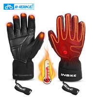 INBIKE USB Rechargeable Heated MTB Bike Gloves For Motorcycle Ski Cycling Gloves Winter Waterproof Electric Thermal Warm Gloves