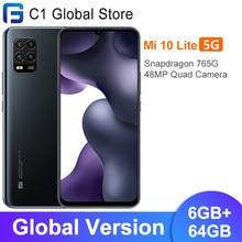 Versão global xiaomi mi 10 lite 5g 6gb 64gb smartphone 5g snapdragon 765g octa núcleo 6.57