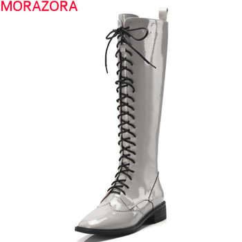 MORAZORA 2020 New arrive genuine leather knee high boots fashion lace up casual ladies shoes autumn winter women  boots