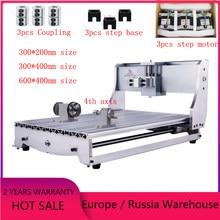 Cnc roteador 3040 kit quadro 6040 máquina de gravura fresadora cama 3020 escultura em madeira com eixo rotativo 57mm motor passo
