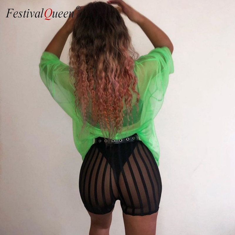 Mesh Black Striped Shorts Women Sexy See Through Breathable High Waist Booty Shorts Summer Fashion Clubwear Shorts Feminino