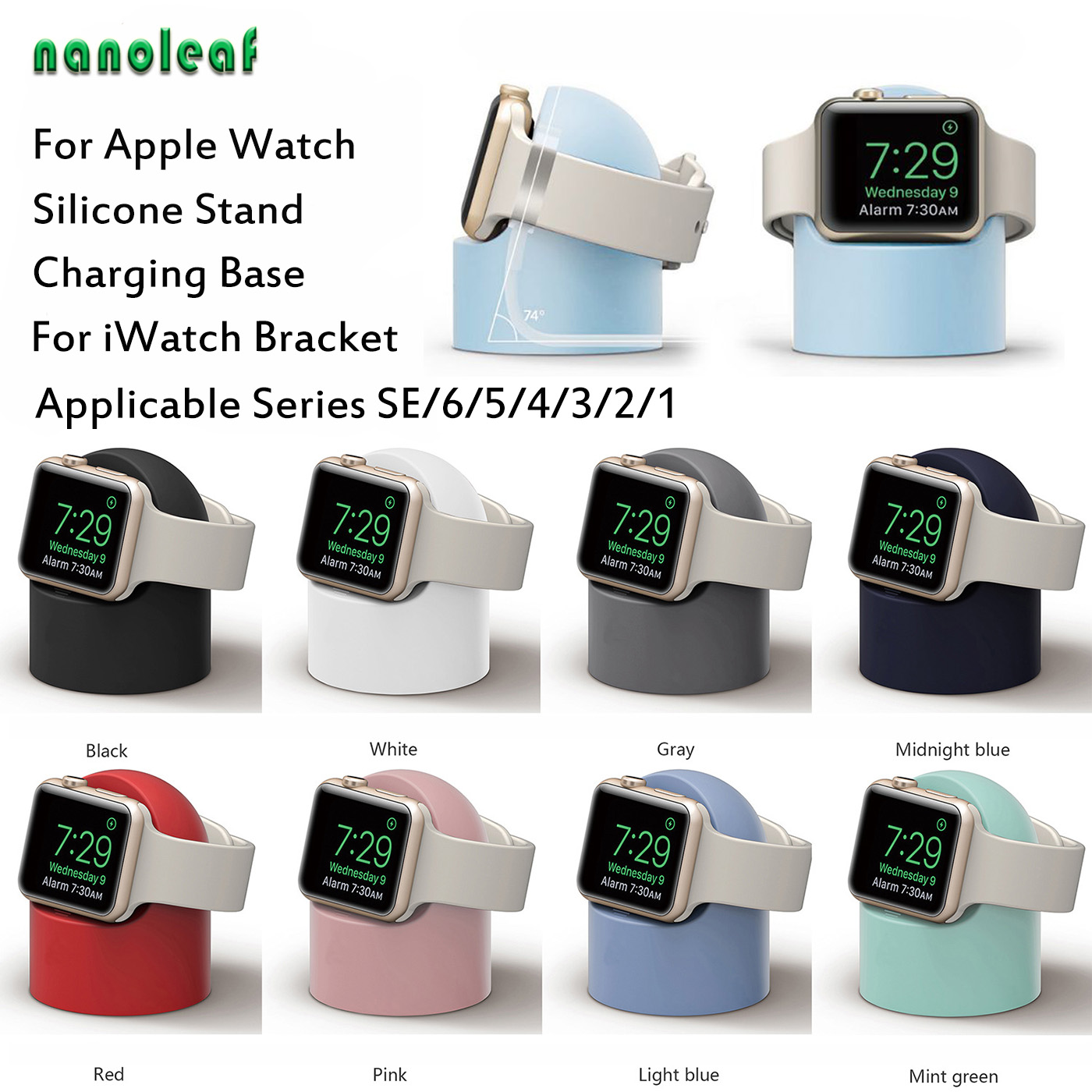 Watch Charging Stand Suitable for Apple Watch Series 5/4/3/2/1 Silicone Material Desktop Stand 38MM/42MM 40MM/44MM Charge Frame