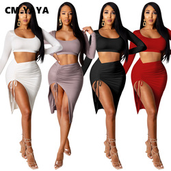 CM.YAYA Two 2 Piece Set for Women Sexy Club Night Party Outfits Crop Tops + Tie Up Ruched High Slit Midi Skirt Set Fall Winter