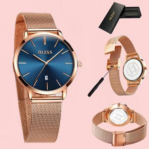 Image 4 - 超薄型レディース腕時計ブランドの高級腕時計女性防水ローズゴールドステンレス鋼腕時計 montre ファム
