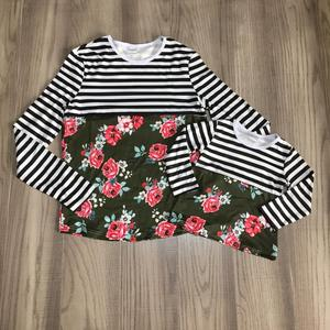 spring/winter baby girls cotton long sleeve milk silk top t-shirt mommy & me stripe floral forest green raglan children clothes(China)