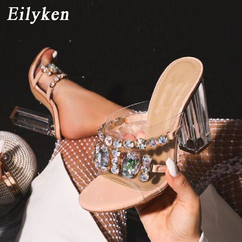 Eilyken Rhinestone Bright Color Crystal Slippers Open Toe High Heels Shoes Woman Crystal Transparent Heeled  Slippers Sandals