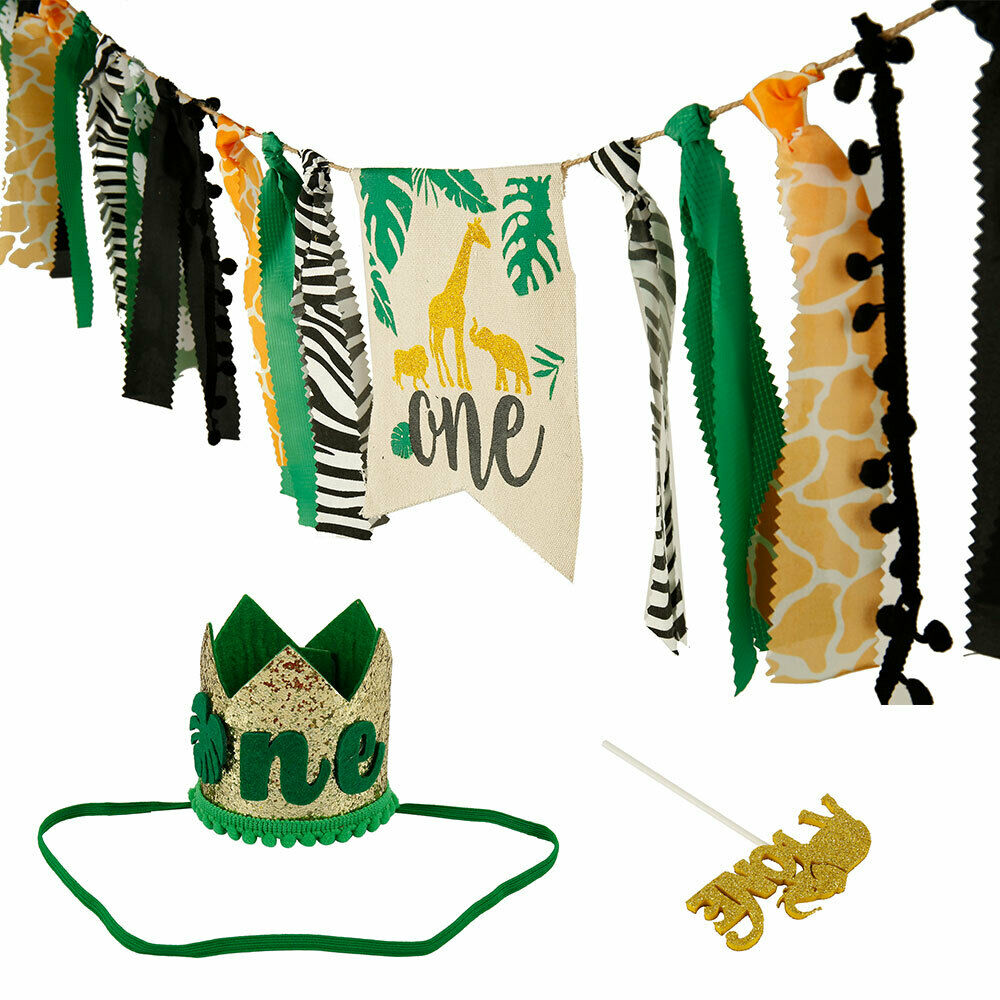 Jungle Animals Themed Highchair Banner Decor Crown Party Supplies Children First Birthday Canvas Parties Decoraton