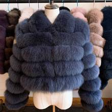 2020 New Arrival Woman's Real Fox Fur Coat Short Style Slim