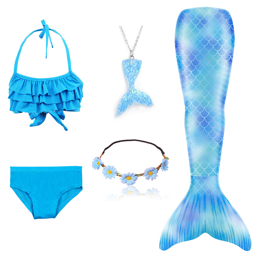 H052182de45fd40c2a0781166a3850db0A - Kids Swimmable Mermaid Tail for Girls Swimming Bating Suit Mermaid Costume Swimsuit can add Monofin Fin Goggle with Garland